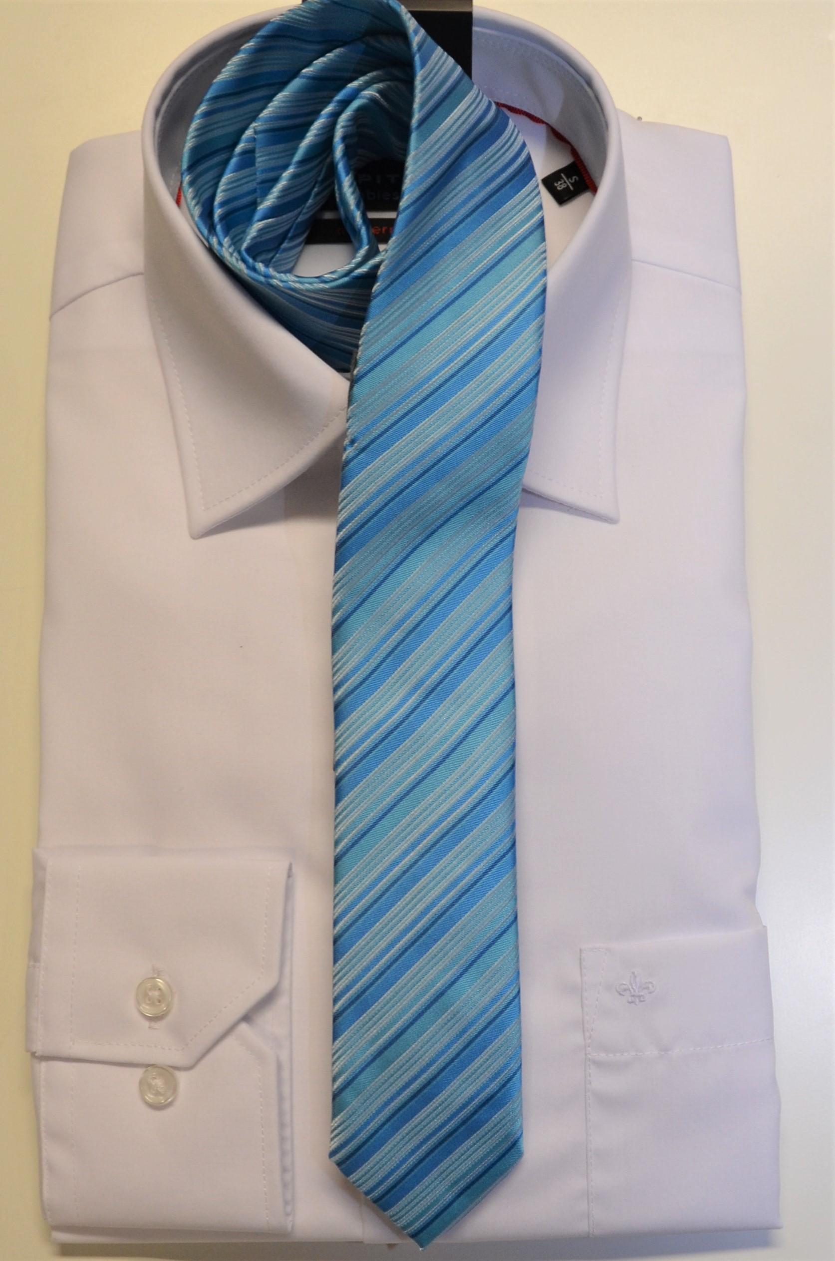 Junior-Krawatte Slim blau / gestreift